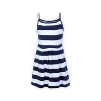 Girls Block Stripe Organic Cotton Everyday Sleeveless Stripy Cami Strap Dress