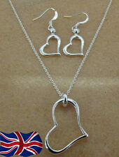 925 Sterling Silver plated Heart Necklace Earrings Set Gift Bag UK