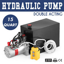 15 Quart Double Acting Hydraulic Pump Dump Trailer Tool W/ Remote Dump Truck