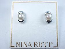 Earrings with Pearls 0891 Nina Ricci Rhodium Plated Pierced