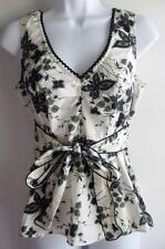 ODILLE ANTHROPOLOGIE CRISP WINGS FLORAL SLEEVELESS TIE FRONT TOP SZ 4