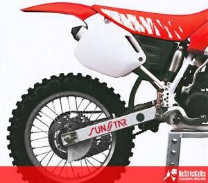 2 ADESIVI SUNSTAR forcellone HONDA CR 250 1991 factory stanton + 91 RM KX YZ