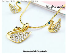 Made with Swarovski Swan Crystal 18K Yellow Gold Plated Necklace Earrings Set