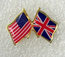US and UK crossed flags lapel pin, made in USA