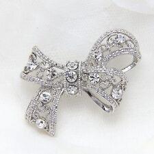Butterfly Bow Rhinestone Crystal Wedding Bridal Brooch Pin