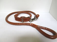Heavy Duty Leather Dog Training Leash & Collar - Brown / Orange stitching [EH-H]