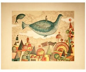 Limited Edition Signed Lithograph by French Artist Françoise Deberdt: 1968
