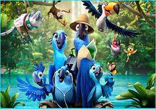 Rio Blu Jewel Birds Edible Birthday Cake Topper Frosting Icing 1/4 Sheet