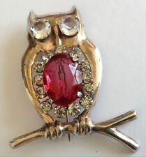 VINTAGE ART DECO STERLING SILVER JEWELED RHINESTONE OWL BROOCH