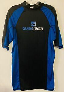 Quiksilver Mens Short Sleeve Black Blue Surf Water Shirt Rash Guard XXL 2XL