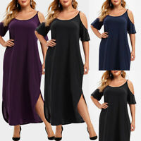 Plus Size Women Boho Cold Shoulder Long Maxi Dress Ladies Party Evening Sundress
