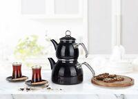 Turkish Tea Maker, Tea Kettle Stovetop, Enamel Ergonomic Stainless Steel Handle