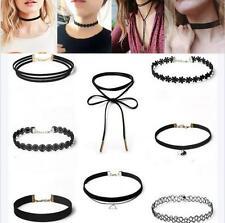8Pcs Sexy Gothic Black Velvet Lace Choker Bib Pendant Chain Necklace Set Jewelry