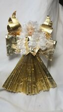 German Wax Angel Ornament Tree Topper with Gold Foil Outfit