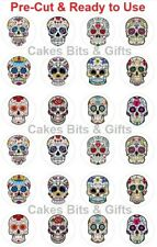 24 x MIXED SUGAR SKULLS Edible Wafer Cupcake Toppers PRE-CUT Ready to Use