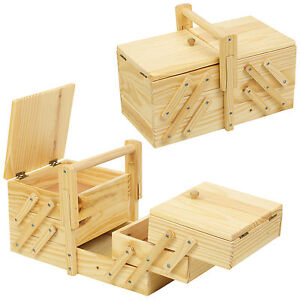 Vintage Style Wooden Sewing Box Shabby Chic Design Storage Cantilever Case Kit