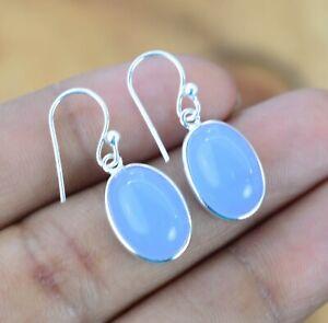 Blue Chalcedony 925 Sterling Silver Gemstone Hook Earring