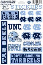 North Carolina Tar Heels Vinyl Die-Cut Sticker Decals - 18 per sheet