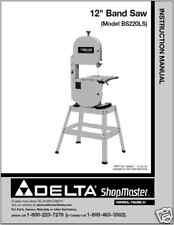 """Delta 12"""" ShopMaster  Band Saw Instruction Manual"""