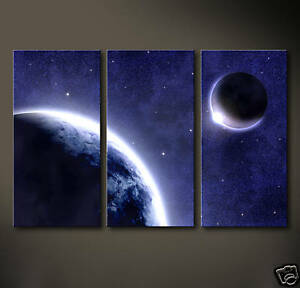 TUNES Leinwand Bild Deko Weltraum Abstraktes Grafik Druck Mond Sterne Space
