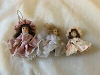 Mini Porcelain Doll Lot Of 3 With Dresses And Bonnets