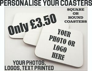 Coaster Custom Printing Personalised With your Photo Company Logo Coasters Gifts
