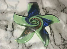 Green Dichroic Starfish Glass Pendant W/ Stardust Handmade 56x56MM Necklace DIY