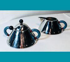 ALESSI Zuccheriera e Lattiera in acciaio inossidabile 18/10 Manici Azzurri
