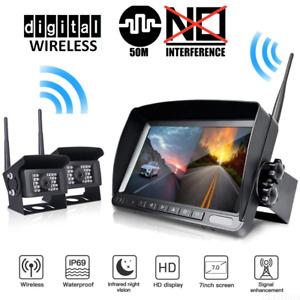 "Digital Wireless 7"" Monitor Split Screen 2x CCD Reversing Camera 12V 24V Truck"