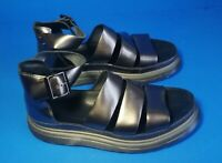 Dr Martens Clarissa METALLIC Black Leather Sandals 43 EU / 11 US / 9 UK