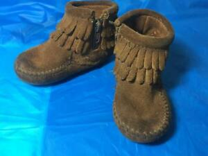 Minnetonka Infant/ Toddler Brown Fringe Leather Moccasin Zip Bootie Size 4
