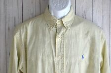 Ralph Lauren Yarmouth Pin Oxford Dress Shirt Yellow Blue Check Men's 16/34 35 A