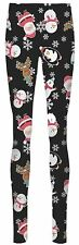New Ladies Ginger Hat Rudolph Nose Santa Sledge Print Xmas Leggings Pants 4-10