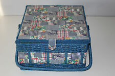 Blue Fabric Basket Sewing Notions Thread Storage Organizer Box w Tray & Pins +