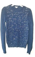 GAP SWEATER Crew Neck Blue with Silver Sparkles 100% Cotton Women's Size S