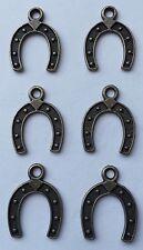6 pieces - rustic brass colour horseshoe charm pendant - 2.35 cm x 1.8 cm