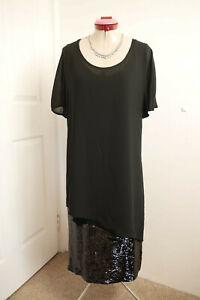 HEINE Black Overlay DRESS Size '44' 16 BNWT NEW Midi Sequin Cocktail Party Eve