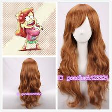 Mabel Pinos Cosplay Peluca Gravity Falls Largo Ondulado Y Rizado Marrón Cos Peluca + un casquillo de la peluca