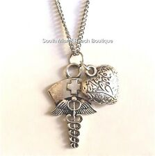 Silver Plated Caduceus Necklace Nurses Cap Heart Nursing Gift RN LPN CRNA ARNP