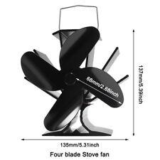 Neu Stromloser Kaminofen Ventilator Fan 4S Gebläse schwarz für Holzofen Kamin