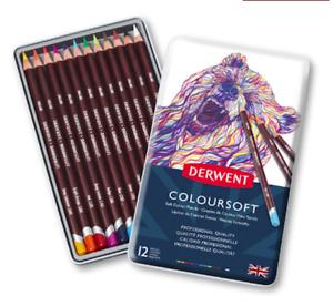 Derwent Coloursoft Pencils - 12 Colours - Professional Quality