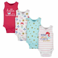 Gerber Baby 4-Pack Girls Sea Creatures Tank Onesies Bodysuits