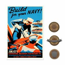 """13""""×19"""" Historic Poster, Reproduction: 1942 Wwii Build For Navy Military Enlist"""