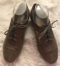 Fossill Irridescent Bronze/Rose-Gold Soft Leather Oxford Shoes w/Cut-Outs Sz 9