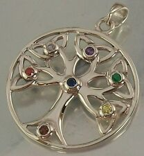 925 STERLING SILVER multicolour CZ CELTIC Tree of Life CHARM PENDANT 27mm, 4.7g