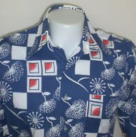 Vintage Disco Shirt Mens MEDIUM Blue 70s Big Collar Abstract Button Alexanders