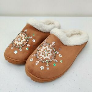 Snowflake Slippers Mule Slides Sequins & Beads Brown White Man Made Faux Leather