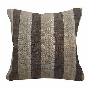 Qa104Ba Brown Rough Linen Blend Check Stripe Cushion Cover/Pillow Case*Cust-Size