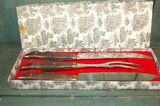 Ancien couteau et fourchette à gigot manche patte de chevreuil vintage en boîte