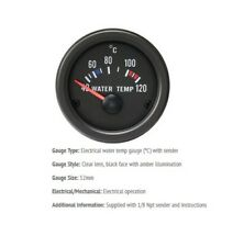 52mm Gauge Water Temperature Deg C Car black face with clear lens